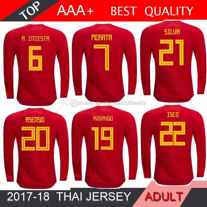 dc06880f4f5 2019 2018 World Cup Long Sleeves 18 19 Spain Soccer Jersey National Team  Home A.INIESTA MORATA RAMOS ASENSIO ISCO SAUL Football Shirt Size S 2XL  From ...