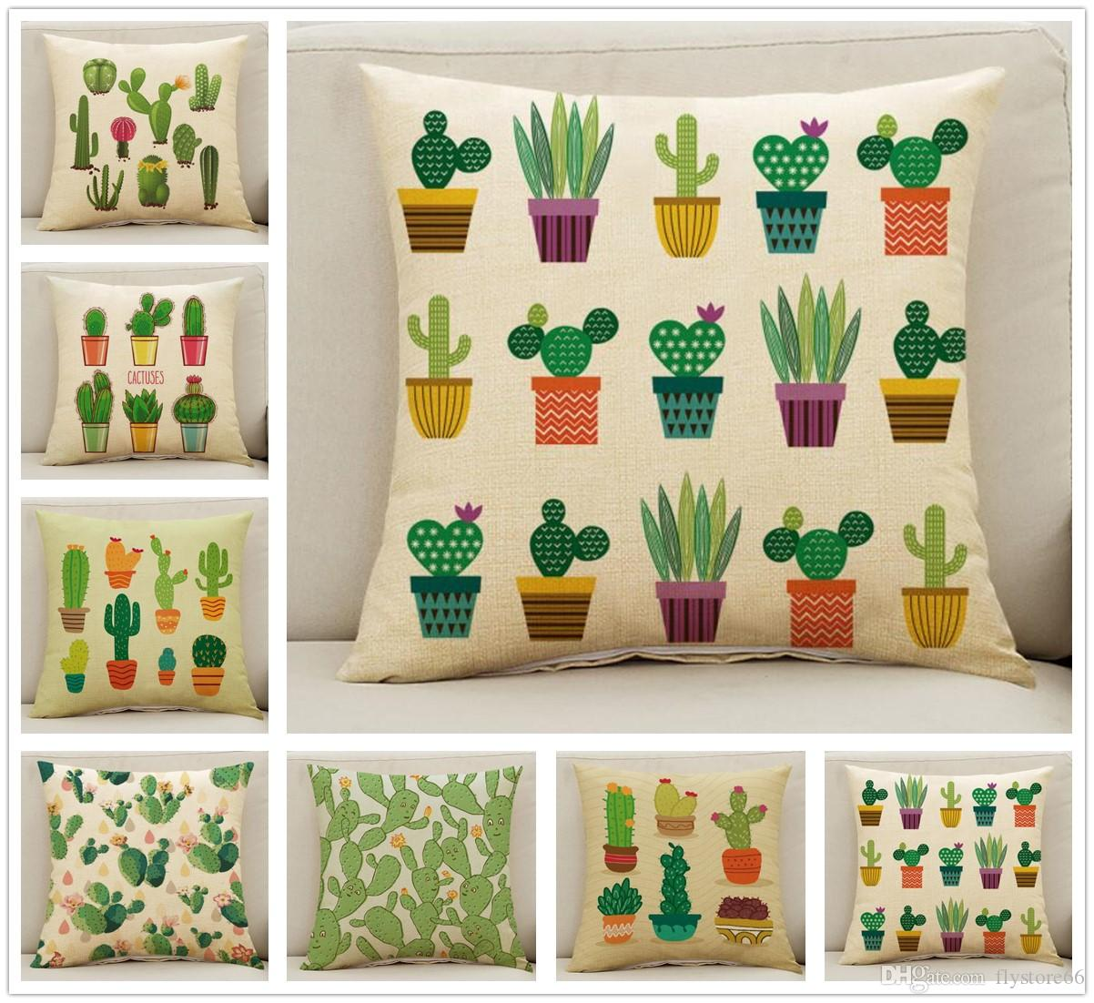 658694a289 New Cute Cactus Pot Pattern Pillow Case Cushion Cover Home Bed Decoration  Funny Gifts Striped Pillow Cases Silk Pillowcases For Sale From Flystore66,  ...