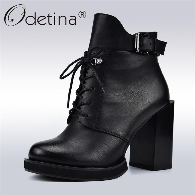 db4c8dd3b0 Compre Odetina Nova Moda Lace Up Mulheres Botas De Salto Alto Quadrado 10  Cm Lado Zip Fivela Cinta Mulheres Ankle Boots Outono Inverno Sapatos De  Pelúcia De ...