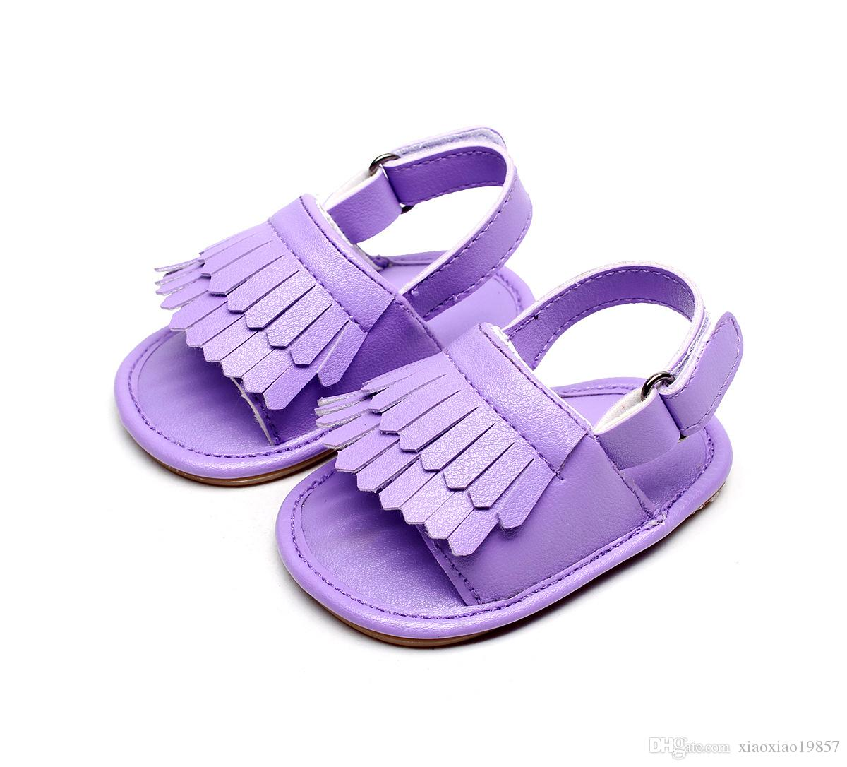 6aa5ea407d Baby Sandals Summer Newborns Leisure Baby Girls Sandals of Children PU  Tassel Clogs Shoes Toddlers Infant Sandals 14 Colors