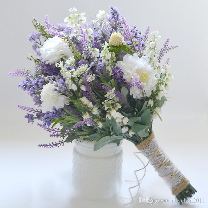 Grosshandel Kunstliche Lavendel Lila Brautstrauss Brautjungfer Blume