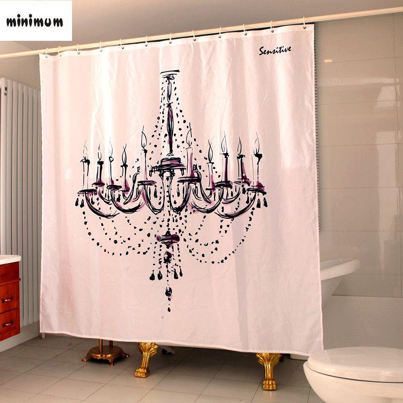 Bath Curtains Bathroom Window Classic Creative Chandelier Waterproof Thicker Show Curtain Free Shipping