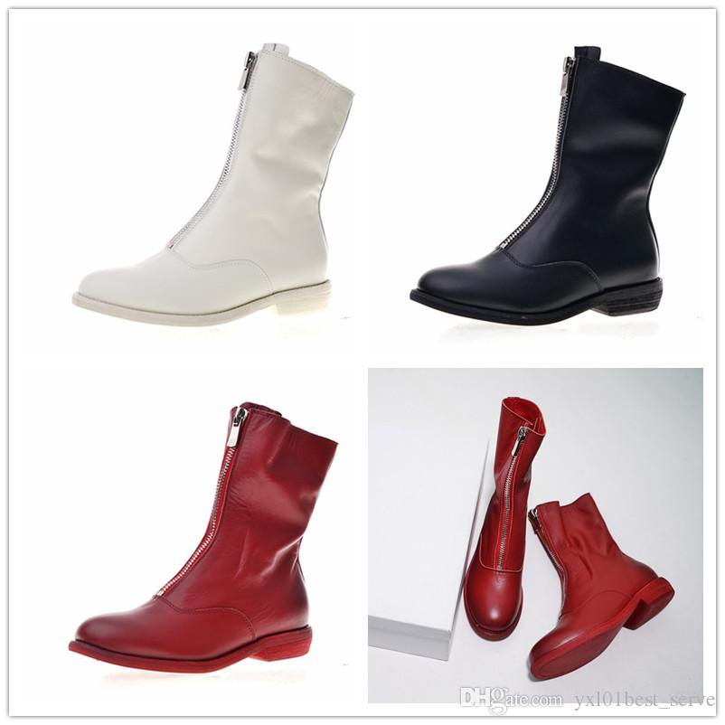 aa5e1f309 2018 Hot INS Guidi Front Calf Length 310 Zip Boots Top Quality White Black  Red PL2 Women Winter Martin Boots Designer Luxury Shoes 35 39 Thigh High  Boots ...