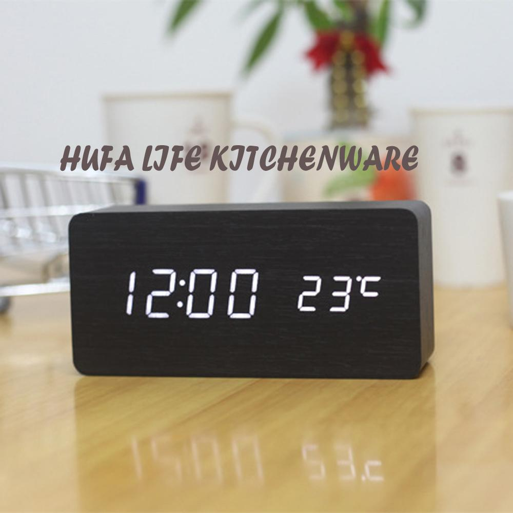 2018 Modern Style Led Digital Alarm Clock Wooden Made Unique Bedroom  Desktop Clock With Acoustic Control Sensing Reloj Sobremesa From Aozhouqie,  ...