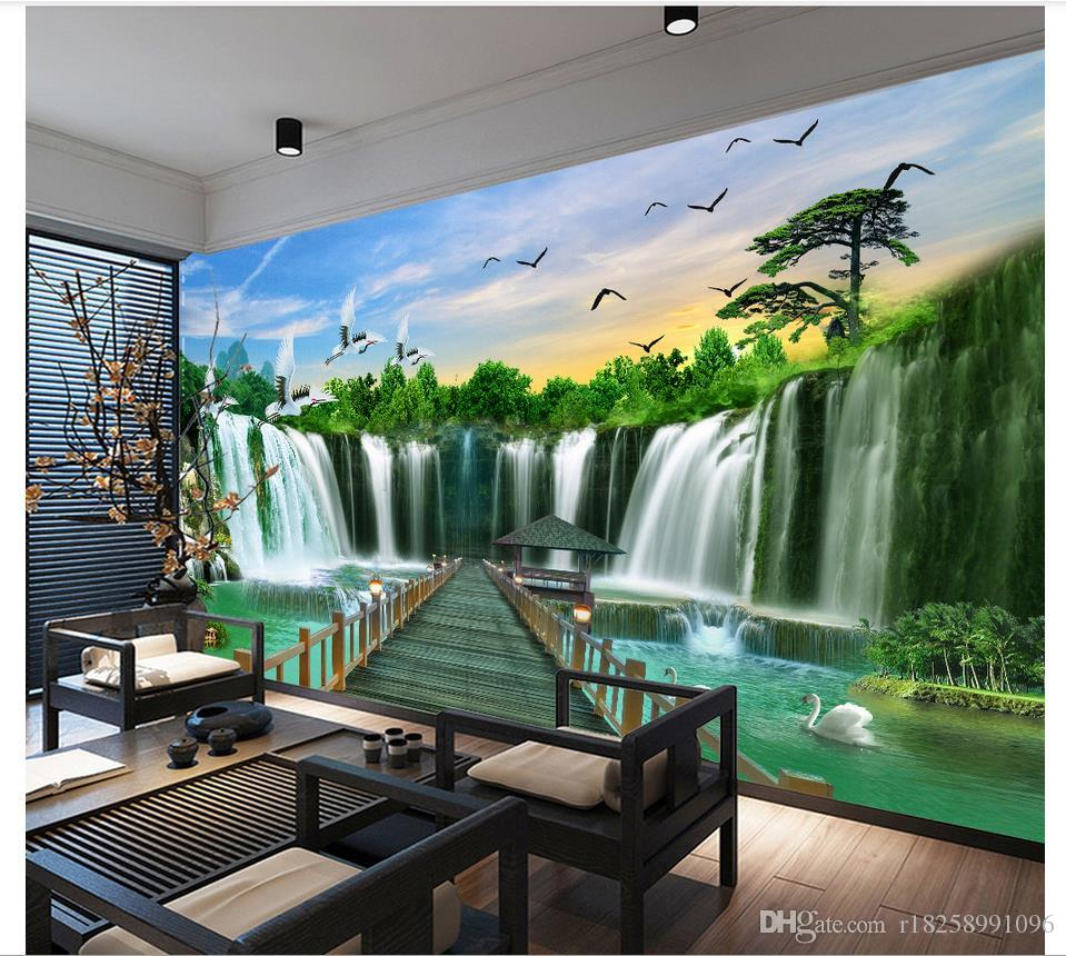 Custom 3d wallpaper for walls 3d photo wallpaper murals Waterfall water landscape water landscape mural background wall livingroom wallpaper