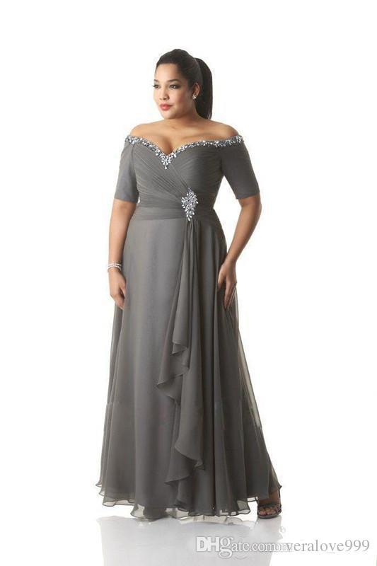 Popüler Gri Artı Boyutu Anne Gelin Elbiseler Yarım Kollu Off-the-omuz Kristal Şifon Örgün Abiye giyim Uzun Damat Giyim