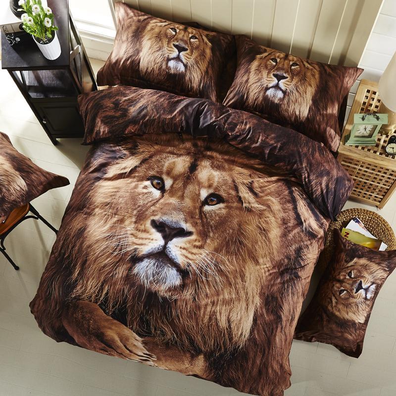 Ivarose 2017 Black Print 3d Tiger Leopard Lion Bedding