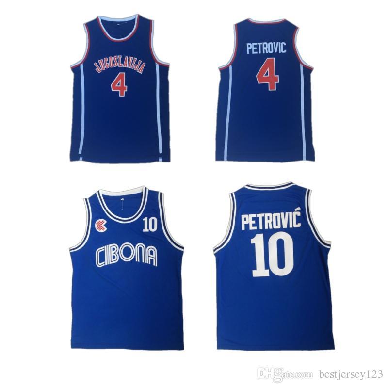 09424e9ab758 Großhandel Günstige 10 Drazen Petrovic Jersey Universität Cibona Zagreb  Jugoslavija Jugoslawien Blau College Basketball Shirt Top Qualität Von  Bestjersey123 ...