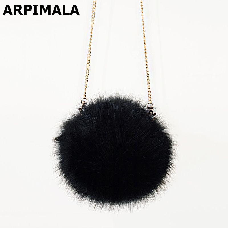 02f22d126cf ARPIMALA 2018 Faux Fur Clutch Bag Women Handbags Luxury Designer ...