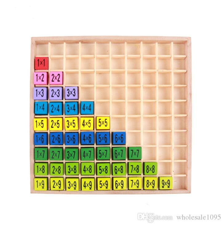 Multiplication Table Math Toys 10x10 Double Side Pattern Printed Board Colorful Wooden Figure Block Kids Educational Toys