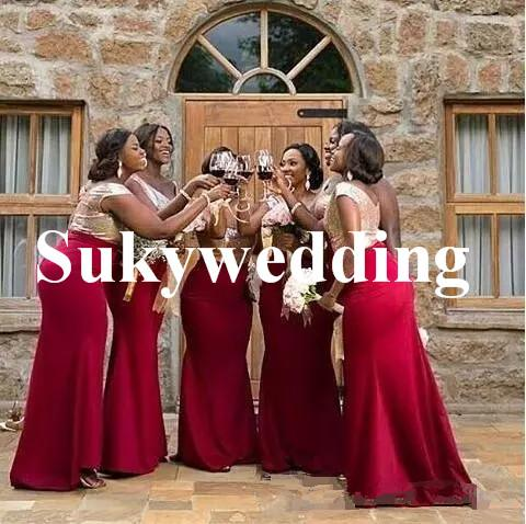 Sparky Rose Gold Sequins Bridesmaid Dresses Burgundy Skirt V neck Mermaid Wedding Guest Dresses for Black Girl Party Prom Gowns Plus Size