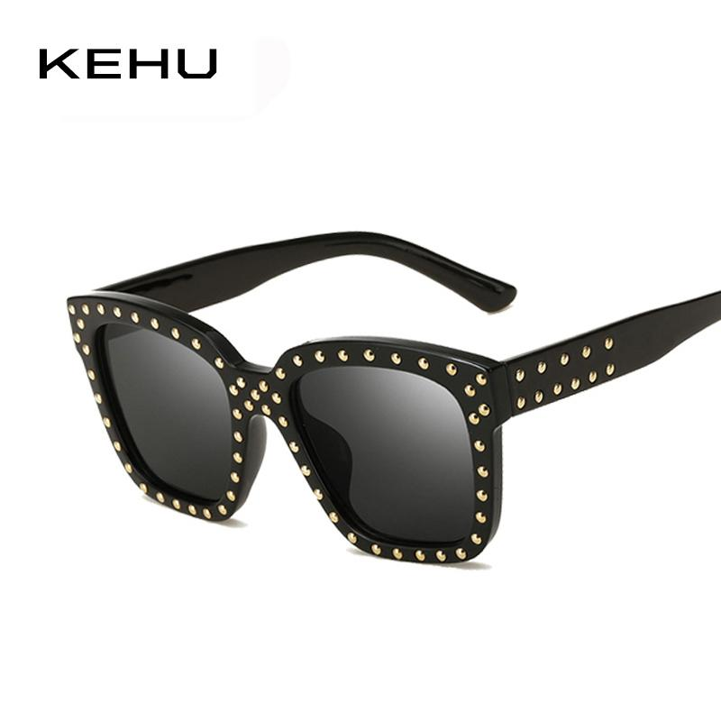 2b2b9aed37a KEHU Women Rivet Fashion Square Sunglasses Vintage Brand Designer Coating Sun  Glasses H1823 Womens Sunglasses Sunglasses Sale From Wonderline2