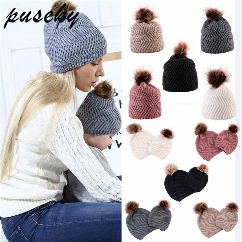 2019 Mom Baby Hat Warm Raccoon Fur Bobble Beanie Cotton Knitted Parent Child  Solid Color Winter Hat For Gorro Baby Pompom Cap From Vanilla14 5cc02396ed8