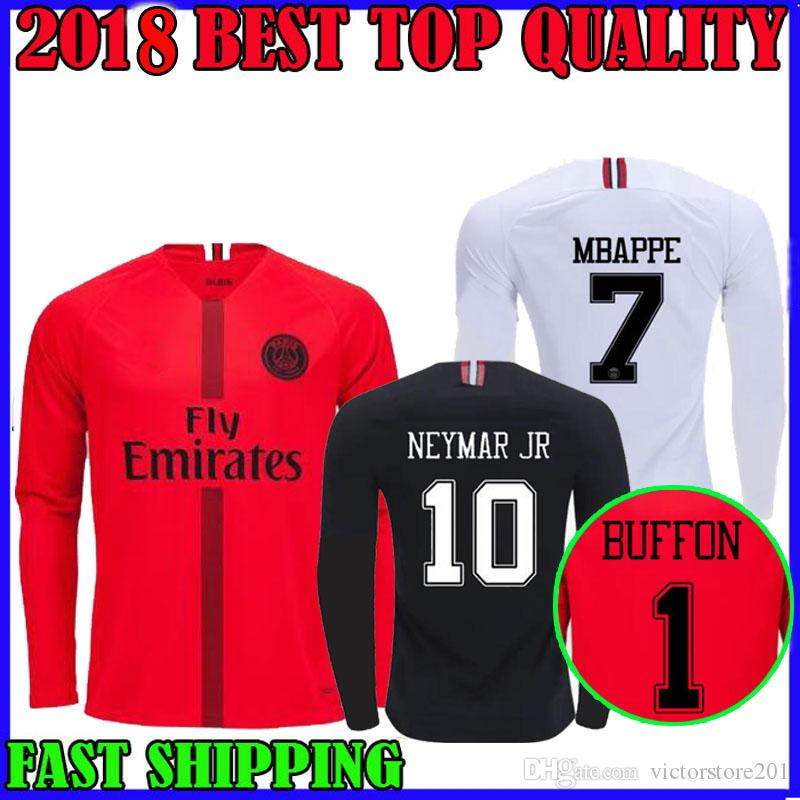 bedd622dcbb93 ... low cost 2018 18 19 psg mbappe 7 champions league long sleeve soccer  jerseys home di
