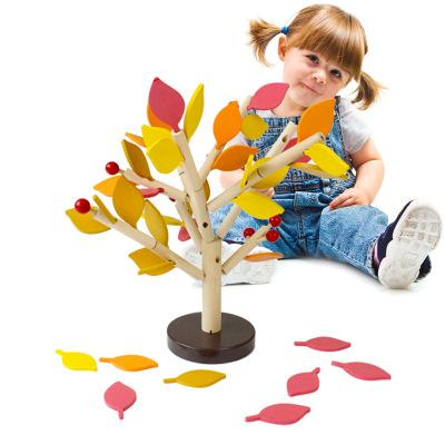 Montessori Wooden Puzzle Toys Assembled Tree Wood Green Leaves Building Chopping Block Early Educational Toy Children Day