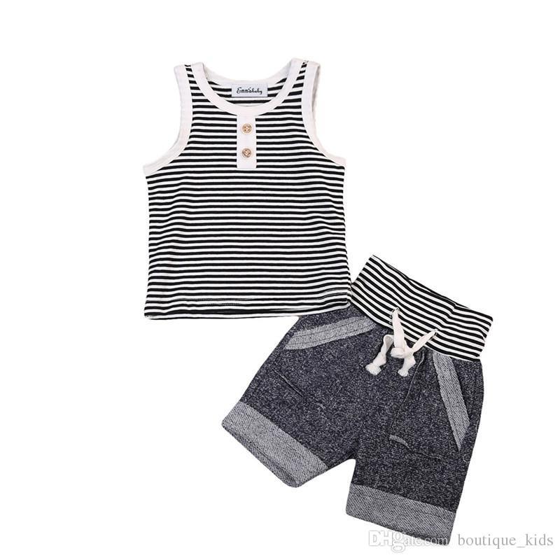 0cdc0caa0 2019 Summer Baby Boy Clothes Set Cotton Vest Sleeveless T Shirt Tops ...