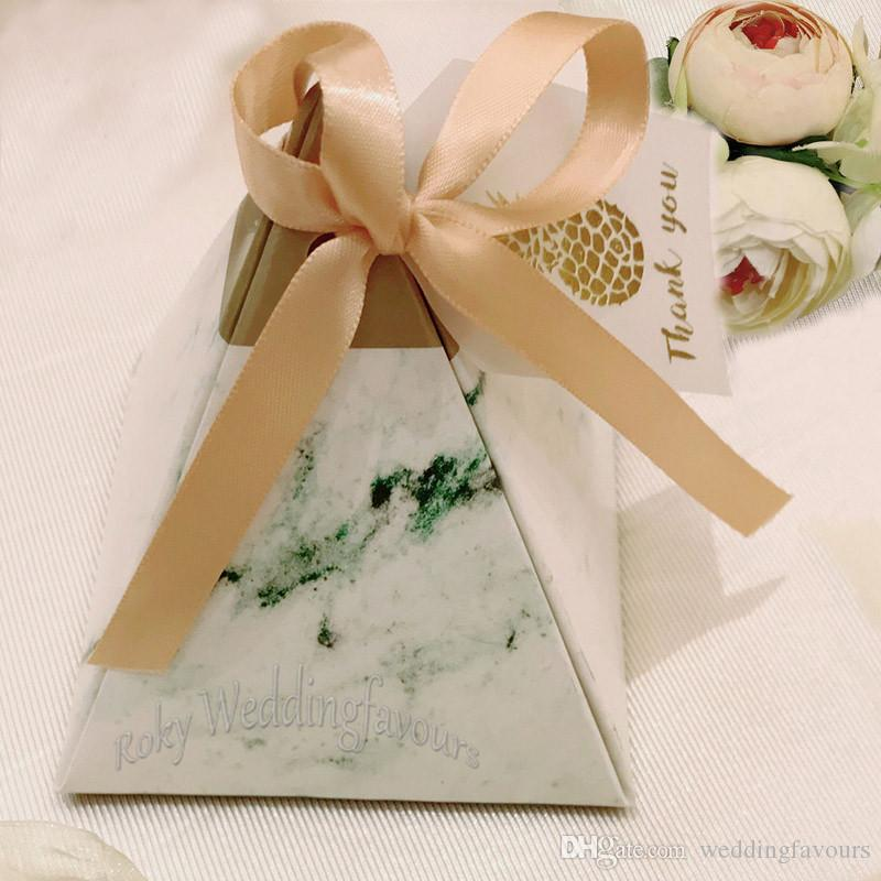 Pyramid Marble Favor Boxes Wedding Candy Boxes
