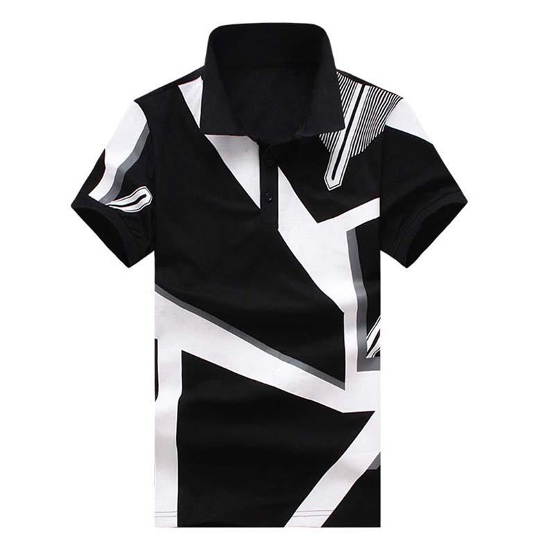 6d625528be Compre Camisas De Polo De Manga Curta Homens Marca De Moda Imprimir Camisas  Slim Fit Homens Polo Homme Preto Branco Tops Tee Casual XXL De Aprili