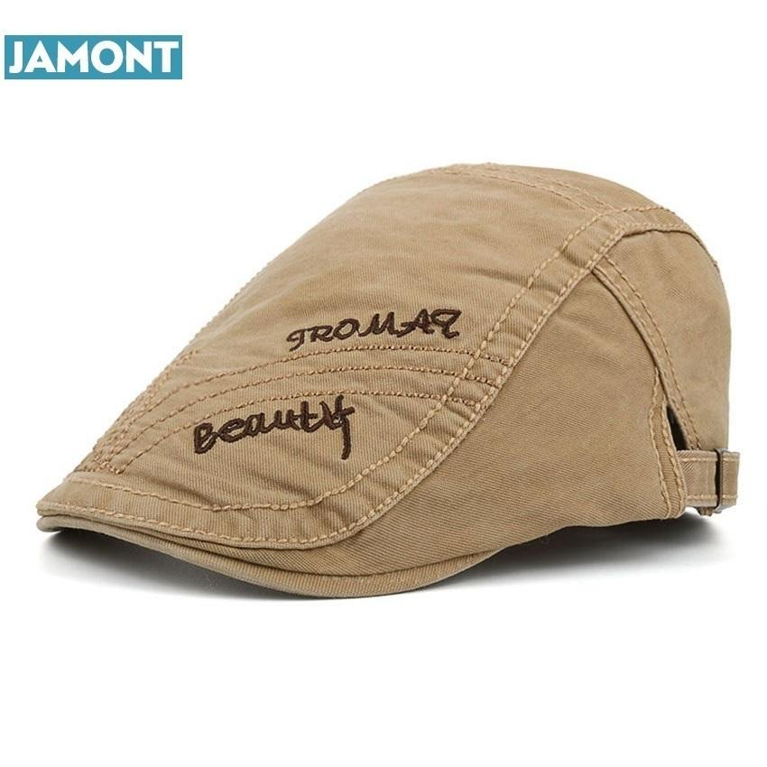 Compre Jamont Nueva Primavera Verano Boinas De Algodón Gorras Para Hombres  Gorras De Piel Casuales Bordado De La Letra Boinas Sombreros A  31.94 Del  ... 94d1fa22d16