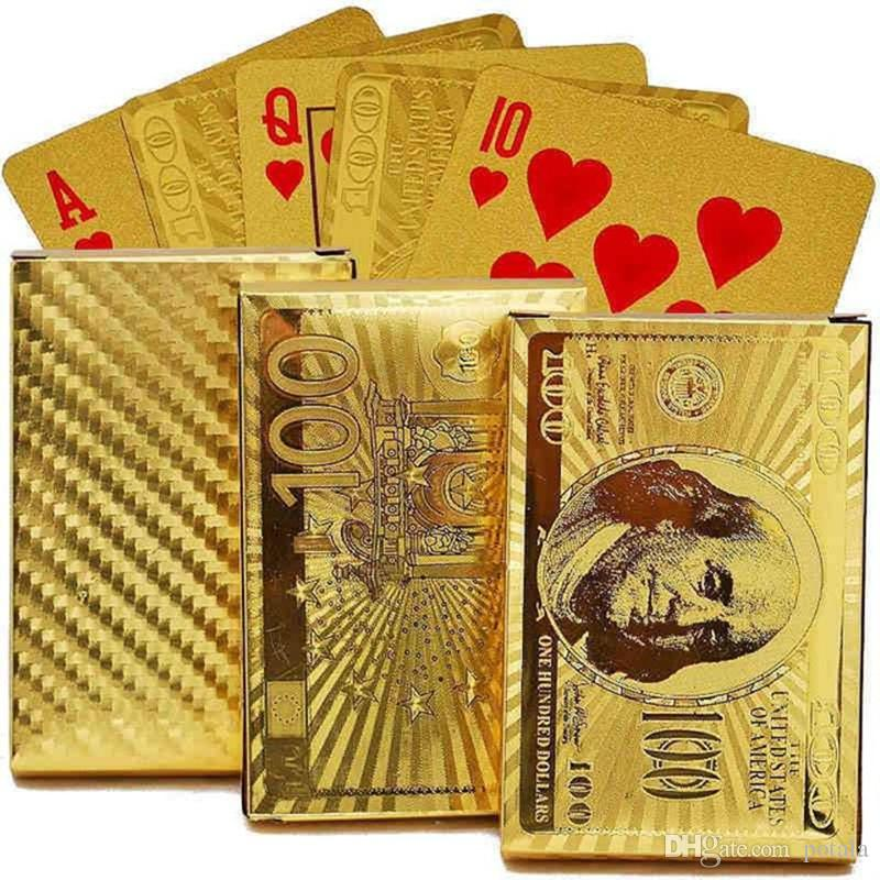 Waterproof Plastic Dollar EUR Gold Edition 24K Carat Magic card Gold Foil Playing Cards Plated Poker Game Playing Cards Gift Foil Table Game