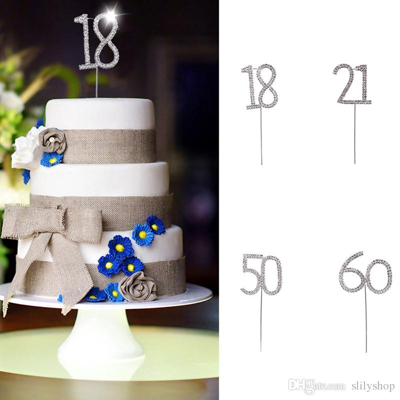 Number 18 21 50 60 Birthday Crystal Rhinestone Cake Topper Alloy Made Party Anniversary Decoration Unique Wedding Ideas