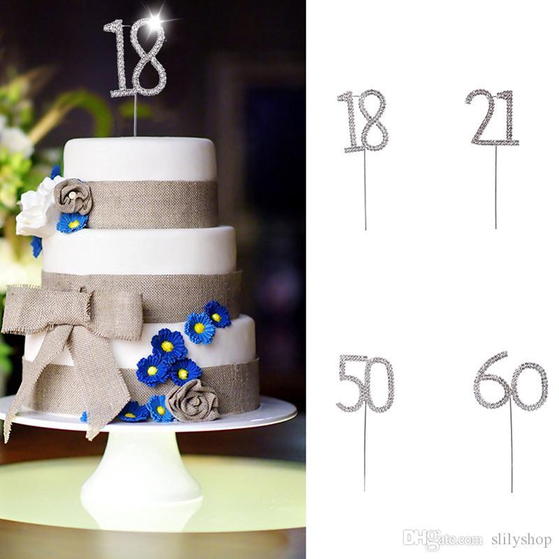 Grosshandel Nummer 18 21 50 60 Geburtstag Kristall Strass Kuchen