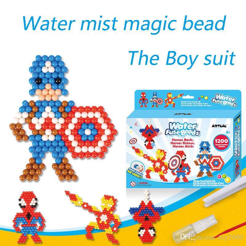 Hot Water Aqua beads toys sticky perler beads pegboard set fuse beads  jigsaw puzzle Water magic bead beadbond educational kids toys