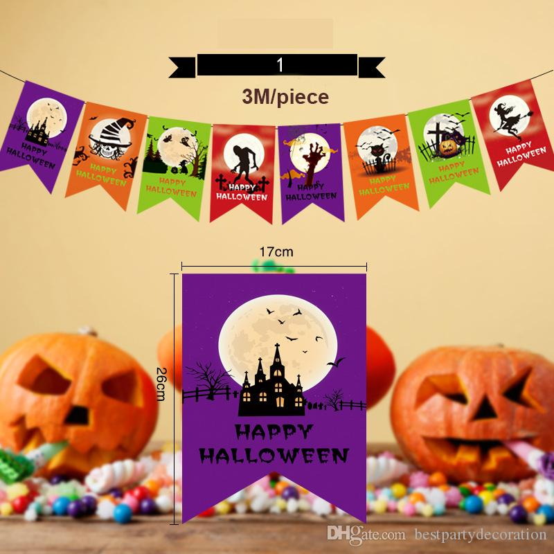 2018 quality 300cm halloween party banner pull flags toys pumpkins witch skull backdrop bunting flags diy halloween decorations garlands from
