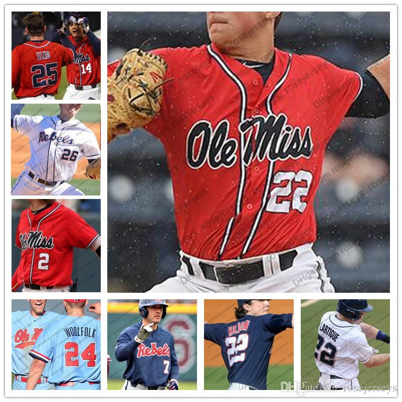 new style c3a5e 1cc30 Ole Miss Rebels #9 Michael Spears 15 Grae Kessinger 25 Tim Elko 6 Thomas  Dillard White Red Blue Navy Men Youth Kid Jersey