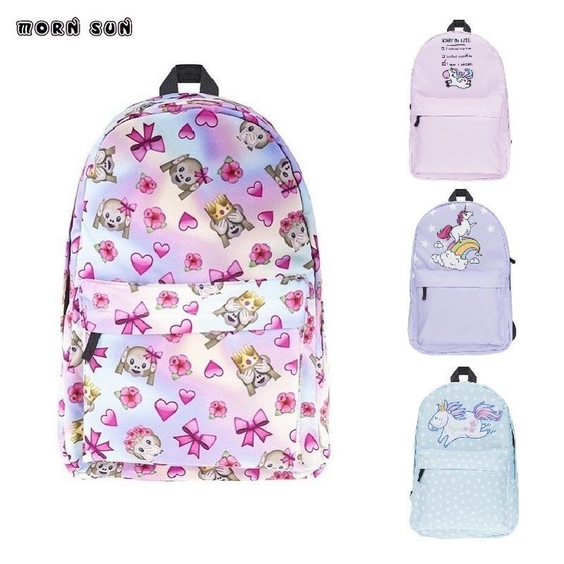 Girl Fashion School Bag Pink Green Unicorn Print Pattern Women s Casual  Backpack Teenagers School Bags Girls Bags Rugzak Backpacks For School Small  Backpack ... 3fb66e4aeec10