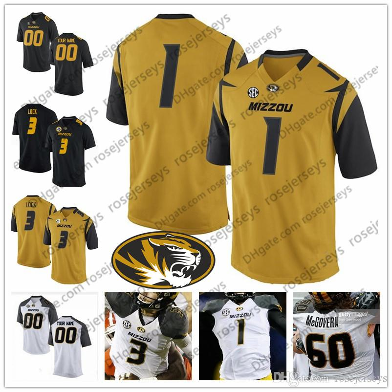 factory authentic 2257c 4b6a6 2019 Missouri Tigers #12 Johnathon Johnson 16 Damarea Crockett 1 Tyler  Badie 5 Taylor Powell Black White Gold Men Youth Kid Football Jersey