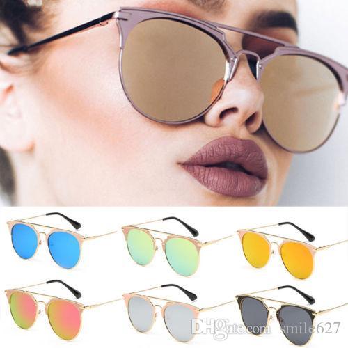 22edd86b60dbc Compre Espelho De Ouro Rosa Óculos De Sol Das Mulheres Rodada De Luxo Da  Marca Feminina Para Mulheres Moda 2018 Venda Quente Óculos De Sol De  Smile627