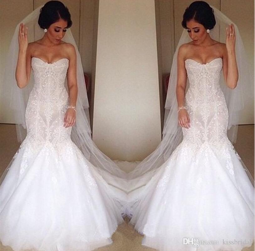 Retro Lace Mermaid Wedding Dresses Strapless Beading Ivory Formal Bridal Gowns Sleeveless Floor Length Dubai Elegant Wedding Gowns