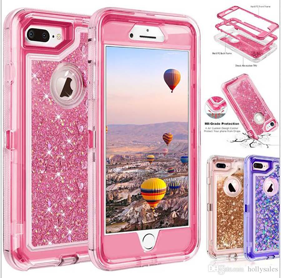 Bling crystal Liquid glitter case 360 protect Designer Phone Case clear robot shockproof waterproof back cover for iphone X XS MAX s10 plus