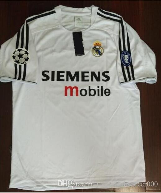 reputable site 72463 d1a9f 2003 2004 real madrid soccer jerseys BECKHAM ZIDANE carlos raul ronaldo  hierro solari figo Retro Home White football