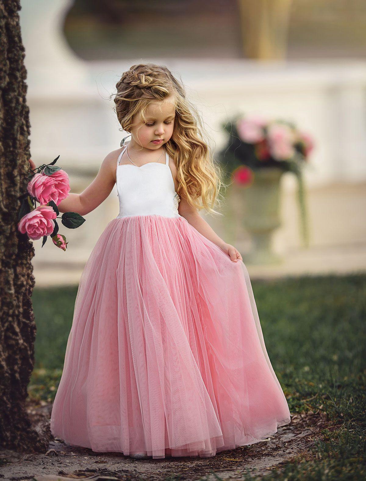 2018 New Style Princess Kids Girl Pink Lace Flower Strappy Dress