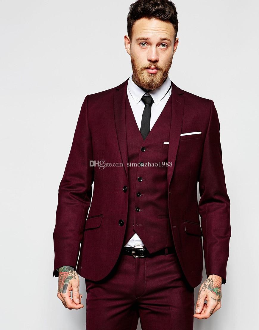 Acheter 2018 Nouveau Design Hommes Costumes De Mariage Marié Formelle  Costume Deux Boutons Bourgogne Tuxedo Veste Hommes Costume 3 Pièces Costume  Homme De ... 4dee5ebe4bb