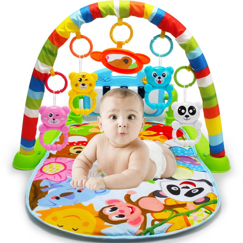 Infant Music Fitness Rack 0 18 Months Old Infant Music Pedal Piano Childrens Educational Toys Developmental Playmats Unique Christmas Presents For Kids