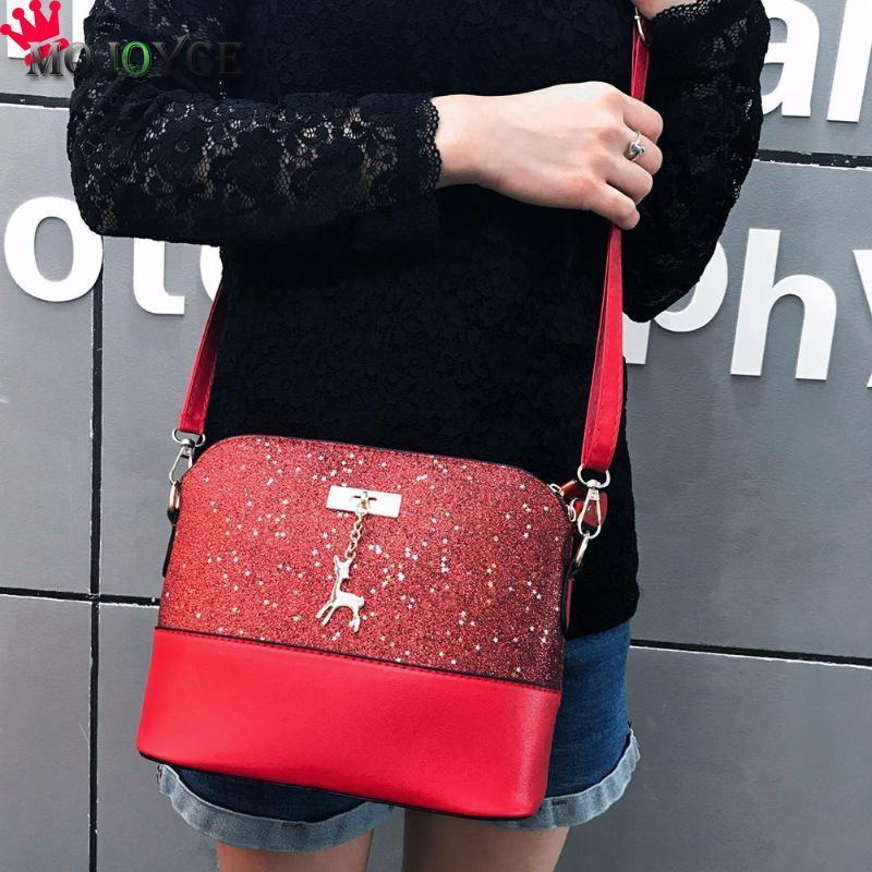 2aa976ea23c6 2019 Fashion 2018 New Shell Messenger Shoulder Bag Deer Women Ladies  Handbag Sequin Lady PU Leather Crossbody Bag Shining Casual Sac A Main Hobo Bags  Ladies ...