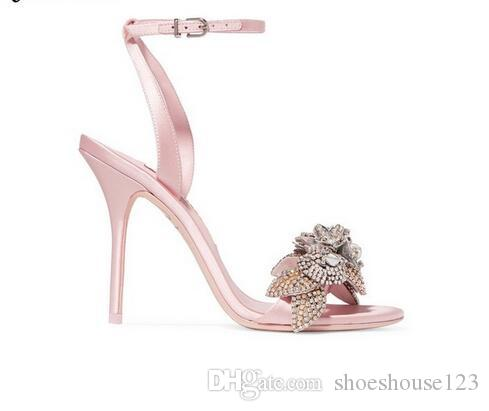 73573a99111 Pink Silk Ankle Strap Stiletto Heels Women Sandals Summer Peep Toe High  Heels Wedding Shoes Bling Crystal Women Pumps Sparx Sandals Blue Shoes From  ...