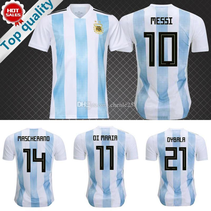 2018 Copa Del Mundo De Fútbol De Argentina Camiseta De Fútbol De Messi De  Casa 18 19 DI MARIA DYBALA Equipo Nacional De Argentina Uniforme De Fútbol  ... 66c15fa44a7da