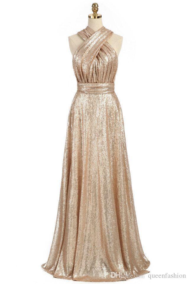 Brillantes Convertible Lentejuelas de oro Vestidos de dama de honor Una línea de vestidos largos de dama de honor Vestidos de boda