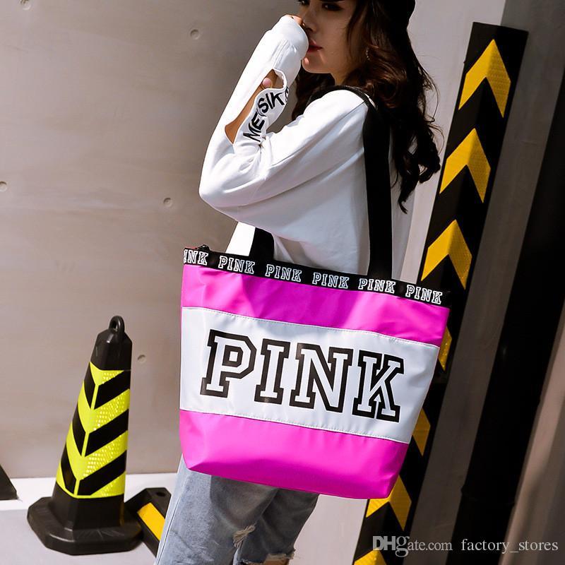 Fashion Women Pink Letter Handbag Shoulder Bags Ladies Girls Large Capacity Travel Waterproof Duffle Beach Shopping Shoulder Bags Tote