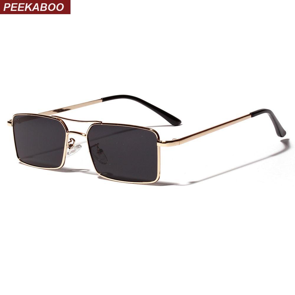 8d3cdc079 Compre Peekaboo Ouro Homens Óculos De Sol Retangulares 2019 Homens De  Armação De Metal Retro Pequeno Quadrado Óculos De Sol Para As Mulheres  Retro Uv400 ...