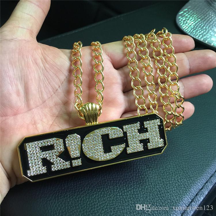 New Arrival Pendant Necklace Cool Letter RICH Pendants Hip Hop Rap Fashion Pendants & Necklaces Gold Jewelry Men Women Gift