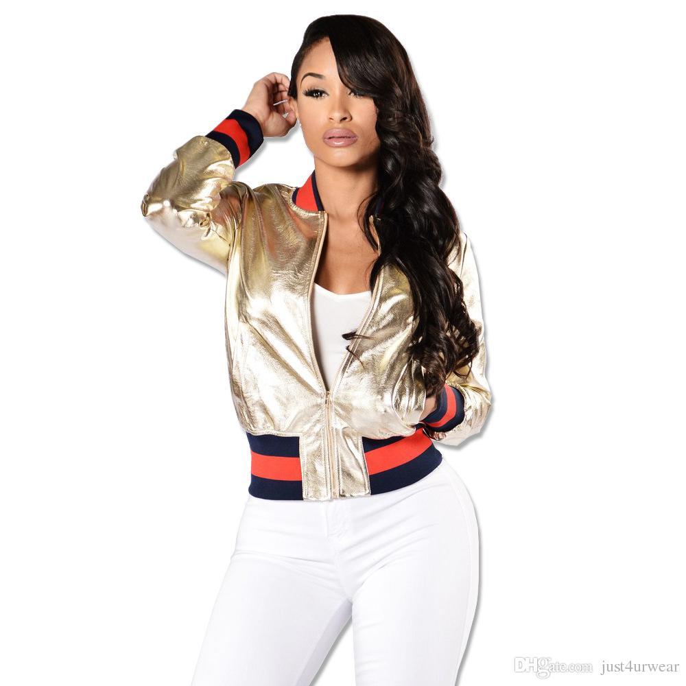 359a7ef3c Women Gold PU Leather Bomber Jacket Spring Autumn Short Baseball Jackets  Coats