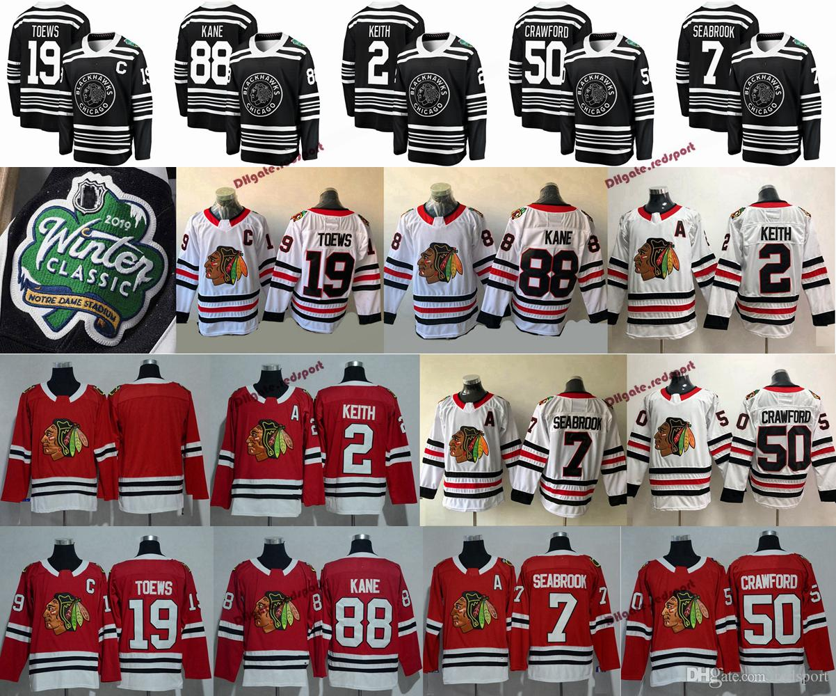 2019 Winter Classic Chicago Blackhawks 19 Jonathan Toews 88 Patrick Kane 2 Duncan Keith 7 Brent Seabrook 50 Corey Crawford Hockey Maglie