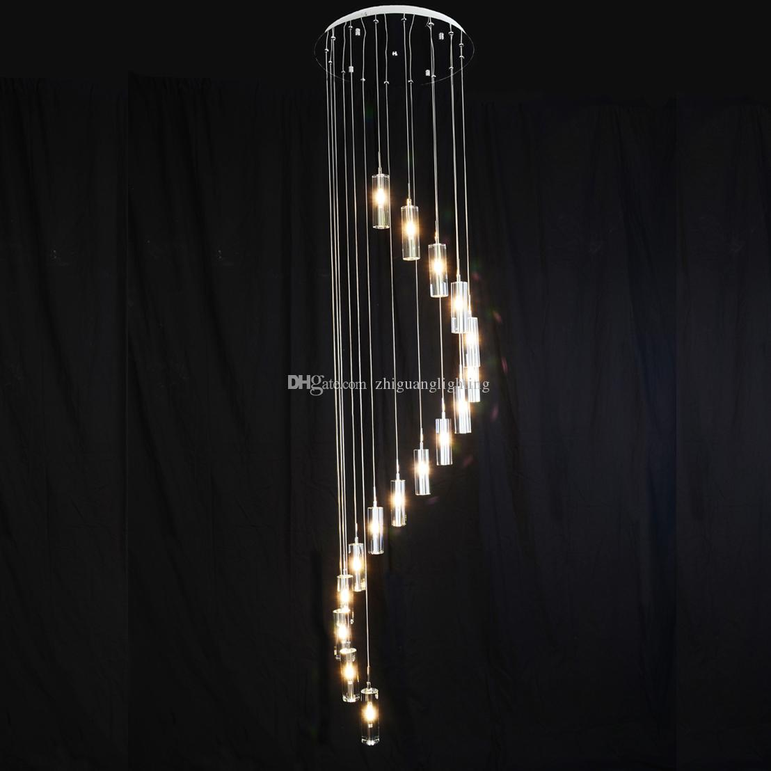 Lovely Large Spiral Crystal Chandelier Led Suspension Luminaire Lights For Living Room Chandelier Lighting Stairway Gold Led Chandelier Convenient To Cook Ceiling Lights & Fans