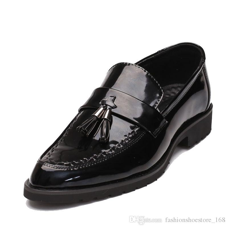 7746c68e80f8 Mens Formal Tassel Slip On Patent Leather Dress Shoes Men Luxury Brand  Pointed Toe Ballet Flats Male Italian Elegant Business Oxford Shoes Slip On  Shoes ...
