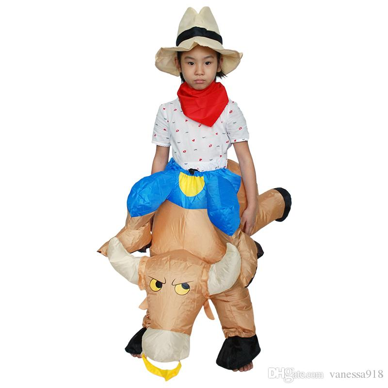 Erwachsenes Kind-Halloween-Maskottchen-Fahrt eine Stier-aufblasbare Stier-Kostüm-Kostüme für Männer Kinderjungen-Kleidung LJ-019